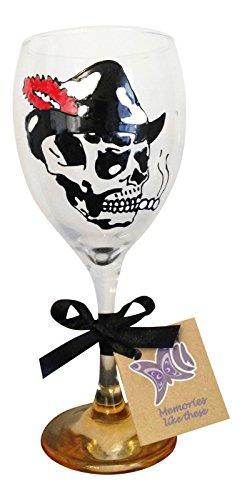 Rock et Roll Squelette Verre à vin peint à la main, crâne avec chapeau plumes, rouge et orange Base