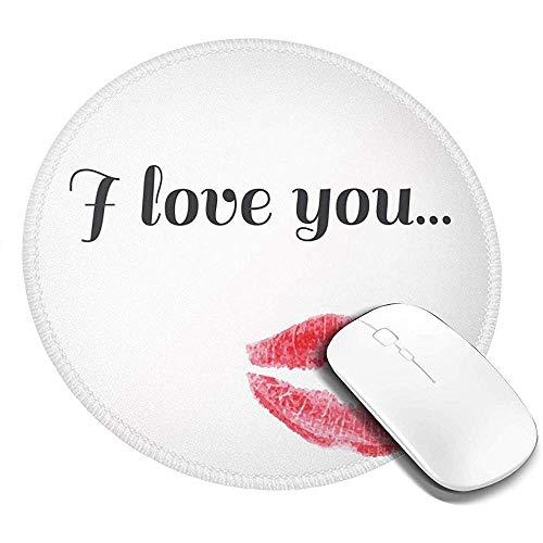 Ronde muismat, Grunge stijl verleidelijke vrouwelijke gladjes met rode gekleurde lippenstift Valentines, anti-slip Gaming Mouse Mat