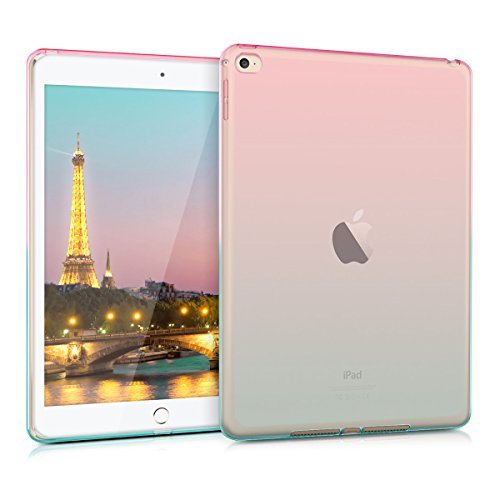 kwmobile TPU Silicone Case Compatible with Apple iPad Air 2 - Soft Flexible Shock Absorbent Cover - Bicolor Dark Pink/Blue/Transparent