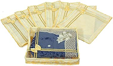 Kuber Industries™ Non Woven Designer Bow Saree Cover Set of 7 Pcs (4 Inch Height)