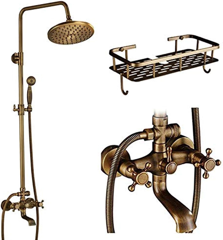 LWSFZAS Luxuxdusche Set -Hahn -Doppel Badezimmer Regendusche Mischer -Hahn -Wand -Griff montiert 8  Messing Regen DuschkopfDusche -Hahn -Dusche -Hahn -A