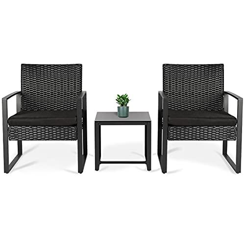 Sekey Polyrattan Balkonmöbel Set 3-teilig, Gartenmöbel Set inkl. Tisch & Stühle mit Sitzkissen für Garten Terrasse Innen- und Außenbereich, Schwarz