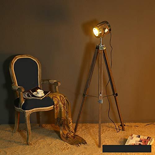 QJUZO Industrie Retro Stehleuchte, Holz Stehleuchte Stehlampe Leuchte Tripod Dreifuß Lampe Dreifuss Innenbeleuchtung Wohnzimmer