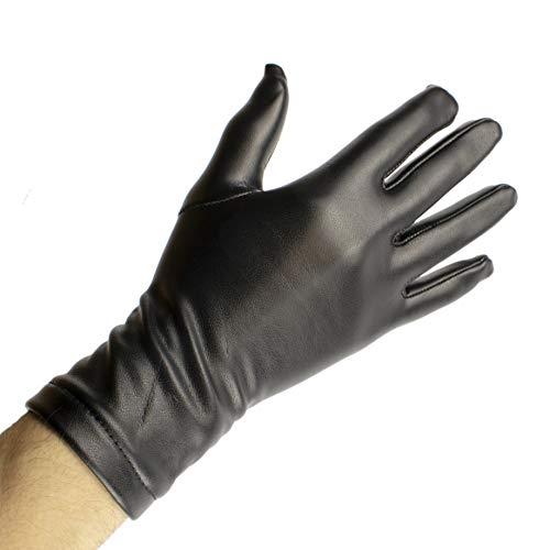 Rubberfashion kurze Leder Handschuhe Damen - Kunstleder Lederoptik Lederhandschuhe kurz - Leather Gloves Paar Kunstleder - schwarz M