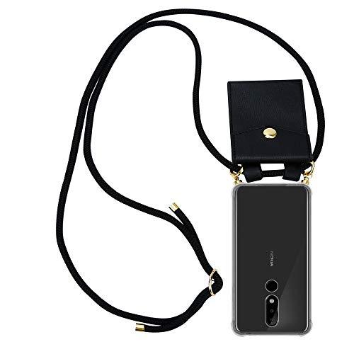 Cadorabo Handy Kette für Nokia 5.1 Plus in SCHWARZ - Silikon Necklace Umhänge Hülle mit Gold Ringen, Kordel Band Schnur & abnehmbarem Etui – Schutzhülle