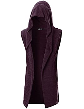 GIVON Mens Sleeveless Lightweight Ruffle Shawl Collar Cardigan with Pockets/DCC046-PURPLE-S