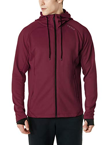 TSLA Men's Full Zip Up Hoodie Jacket, Long Sleeve Performance Training Hoodie, Lightweight Workout Running Track Jackets, Active Fullzip(mkj03) - Maroon, XX-Large