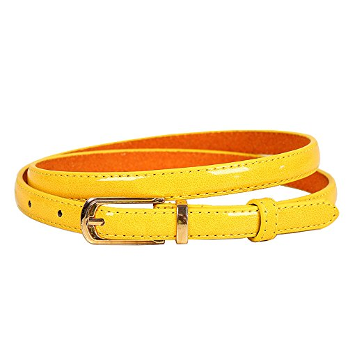 Cinturón de cuero artificial amarillo para Mujer