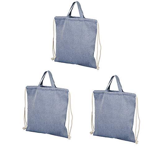 noTrash2003 Rucksack mit Kordelzug aus recycelter Baumwolle Einkaufstasche Beutel mit Henkeln und Tragegriff versch. Farben 38 x 42 cm (Heather Blau, 3er)