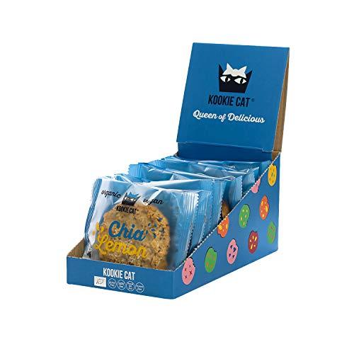 Kookie Cat Chia & Zitrone - Vegane Cookies Einzeln Verpackt, Glutenfrei, Sojafrei, Bio, Cashew & Hafer - 12 X 50g Multipack