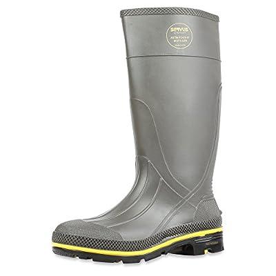 "Servus Pro 15"" PVC Chemical-Resistant Steel Toe Men's Work Boots, Gray, Yellow & Black (75101), 14"