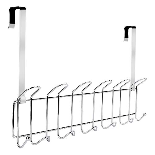 Minggoo Over The Door 13-Hook Rack Heavy-Duty, Wall Mounted Coat Rack,Door Clothes Hanger for Living Room, Cloakroom, Bathroom, Chrome Finish