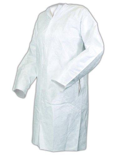 Magid C111L EconoWear Tyvek Disposable Lab Coats, Large, White (Case of 30)