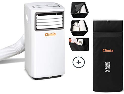 Climia CMK 2600 mobiles Klimagerät mit ökologischem Kühlmittel, 3-in-1 Klimaanlage – Aircondition, Ventilator und Luftentfeuchter (CMK 2600 inkl. Schutzhülle)