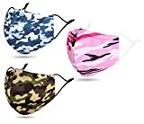 3 Pcs Unisex Face Macks Washable Reusable for Dust Printed Design with Camouflage Camo Army Two Layer Face Scarf Muffle Cover with Adjustable Earloop for Adults, Camo Blue/Camo Army Green/Camo Pink