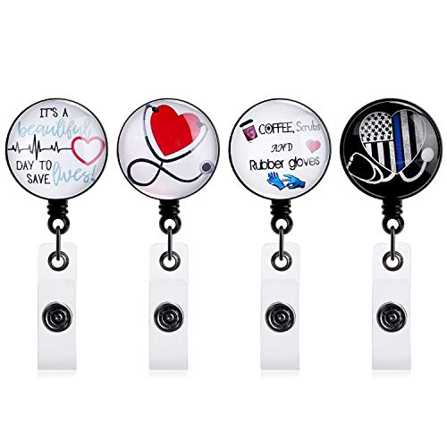 4 Pack Badge Reels Retractable, Nurse Badge Reel with Alligator Clip, ID/Name Card Holder for Nursing, Doctors and Schools Student,Reinforced Strap, Easy Retracting 24 inch Nylon Cord
