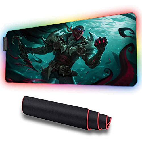 RGB Extra Large Gaming Mouse Pad for Pyke with Non-Slip Rubber Base & 12 Lighting Modes,Water-Resistant,4mm Glowing LED Soft Extended Large Mousepad,Mouse Mat for Computer & Laptop 11.8x31.5 inch