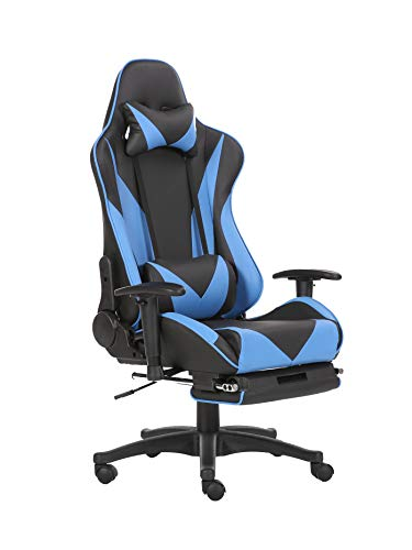 Brage Living Swivel Gaming Chair Ergonomic High-Back Racing Style PU Leather Office Chair with Headrest and Lumbar Support and Adjustable Armrest and Retractable Footrest BR1861003 - (Blue/Black) chairs Computer Dining Features gaming Kitchen
