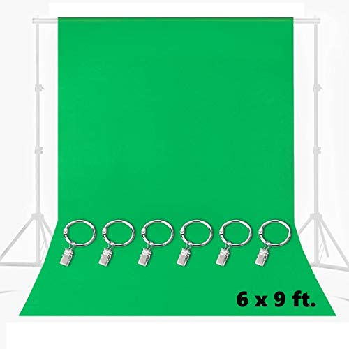 MOHOO 6x9FT Green Screen Backdrop, Green Muslin Backdrop with 6 Ring Metal Holding Clips, Solid Color Green Photography Backdrop Background for Studio Video Photo Shot