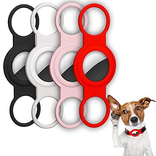 Huarumei Hülle Kompatibel mit Apple Airtag, 4 Stück Silikon Schutzhülle Airtags Halsband Gps Tracker Hund für Airtags Anhänger AirtagCase Schlüsselanhänger und Airtags Katzenhalsband
