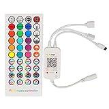 ZHITING Controlador LED de música Bluetooth con control remoto IR de 40 teclas para luz LED RGB 5050 LEDs cinta cinta Sincronización de música DIY colores Cambio de tiempo Smart APP Control