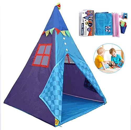 Tragbare Kinder Zelte, mit Zelt-Licht-Spiel-Haus-Kind Baumwolle Leinwand-Spiel-Zelt, Kind Kleines Teepee Zimmer mit Tragetasche (blau)