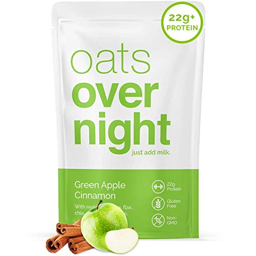 Oats Overnight - Green Apple Cinnamon (8 Pack)High Protein, Low Sugar Meal Replacement Breakfast Shake - Gluten Free, High Fiber, Non GMOOatmeal(2.7oz per pack)