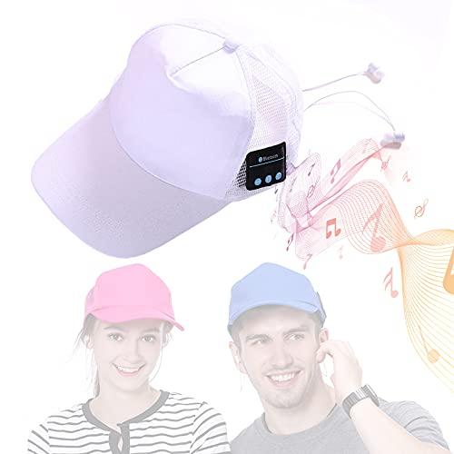 EnweMahi Gorro Bluetooth Unisex Ventilado, Gorra De MúSica Bluetooth Calidad Sonido HD Hi-Fi Chat De Voz, Gorra Auriculares Bluetooth CóModo Transpirable ExtraíBle Y Lavable,Blanco,One Size