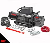 Rough Country 9,500 LB PRO Series Electric Winch | 85 FT Synthetic Rope Fairlead | Clevis Hook | 12 FT Remote |...