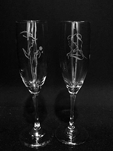 Beauty and Beast wine glass set Wedding glasses Etched champagne flute Princess gift Wedding flutes