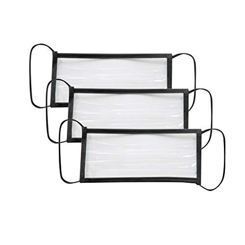 DDYIIO 3Piezas Unisex Adulto con ventana transparente Expresión visible Protección segura para sordos y con problemas de audición Poliéster Algodón
