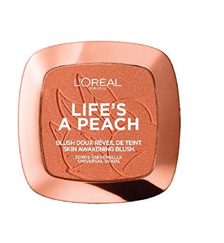 L'Oreal Paris Life's A Peach Blush | Met lichtreflecterende pigmenten | Perzikachtige glans, Perzik geur | Verrijkt met perzikextract en kokosolie | Eenvoudig aan te brengen en te mengen | Inhoud 9 gram