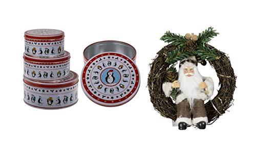 keks Runde, weiß/rote Metall-Keksdose, Pinguin, 3er Set, Mehrfarbig, 19 x 19 x 9 cm, 3-Einheiten Türkranz Weihnachtsmann NEU 18 cm im Kranz mit LED Licht