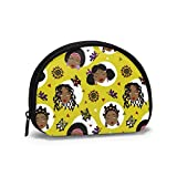 African American Girls Faces Diverse acconciature Farfalle Sole Seamless Pattern Portamonete Cambio Cash Bag Cerniera Piccola borsa Portafogli Sacchetto cosmetico Sacchetto di immagazzinaggio