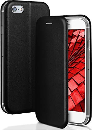 OneFlow® Funda Libro + Cierre magnético Compatible con iPhone 6S / iPhone 6 | Piel sintética, Noir