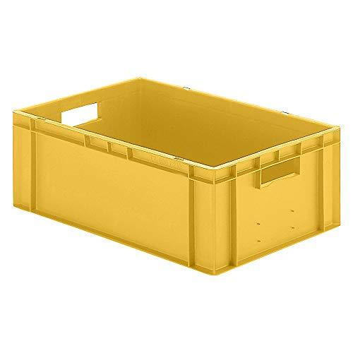 Euro-Stapelbox/Lagerbehälter, gelb, 600x400x210mm (LxBxH), Wände/Boden geschlossen, mit Grifföffnungen, lebensmittelecht