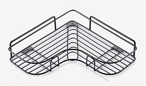 DONGYAO Estante de baño sin marcas, estante de esquina de ducha, estante de inodoro, trípode montado en la pared sin perforación, 36,5 x 26,5 x 5,5 cm, estantes de almacenamiento negros