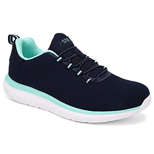 HKR Sneaker Damen Slip on Atmungsaktiv Sportschuhe Turnschuhe Bequem Slipper Sommer Marineblau 42 EU