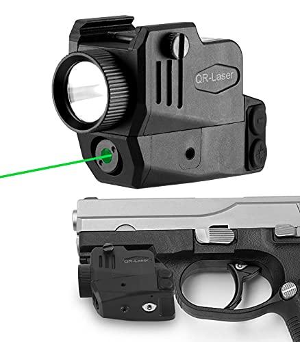 QR-Laser Green Laser Sight Gun Light Combo 500 Lumens Tactical Flashlight Rechargeable with Strobe Function for Pistol Handgun Glock Rifles Dot with Picatinny Rail Mount