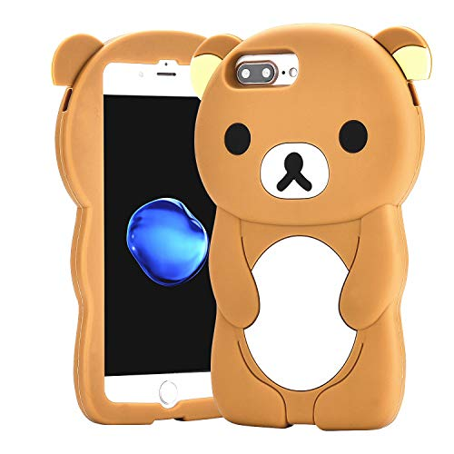 Relax Bear Case for iPhone 8 Plus /7 Plus/6/6S Plus 5.5',3D Cartoon Animal Character Cute Soft Silicone Rubber Brown Cover,Animated Fashion Cool Skin Shell for Kids Child Teens Girls(iPhone 8Plus)