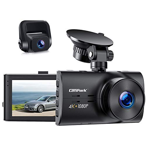 Campark Dual Dash Cam Native 4K&1080P Front and Rear Car Camera, H.265, Night Vision, Loop Recording, Parking Monitor, G-Sensor, Support 256GB
