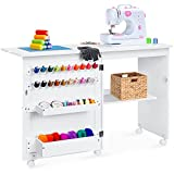 Best Choice Products Folding Sewing Table Multipurpose Craft Station & Side Desk with Compact Design, Wheels, Shelves, Bins, Pegs, Magnetic Doors, Metal Doorknobs - White