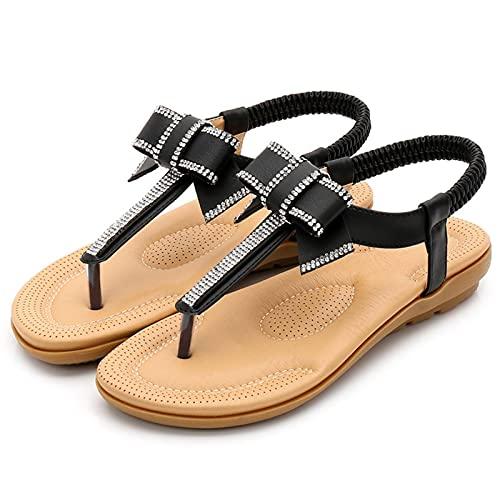 KovBexJa Verano Bowknot Sandalias De Mujer Bohemia Rhinestone 2.5 cm Suela De Goma Tacón Plano Playa Zapatos De Mujer Negro