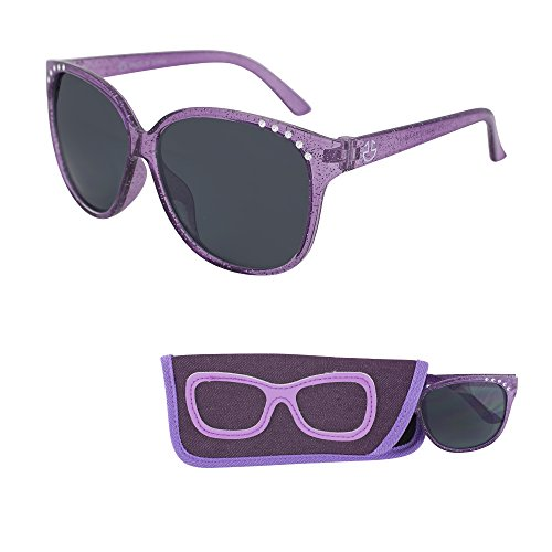 Sunglasses for Children – Smoked Lenses for Kids  Reduces Glare 100% UV Protection  Shiny Crystal Frame  Matching Pouch  Ages 3 to 12  By Optix 55 Purple