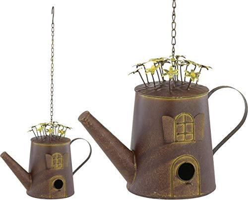 POSIWIO Vogelhaus Metallkanne an Kette Nistkasten Rostlook Shabby-Look Kaffeekanne mit Reinigungsöffnung