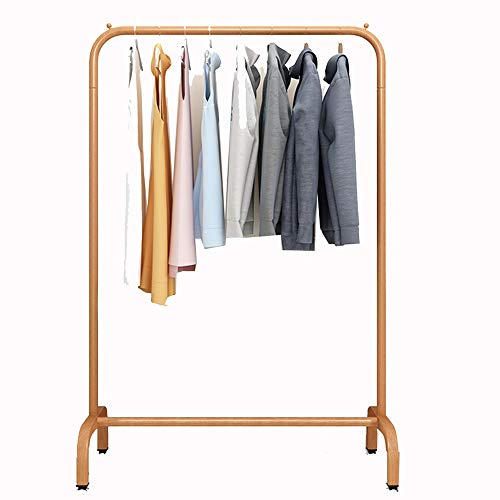 XINGLL Sturdy Pole Style Drying Rack, Metal Garment Racks Clothing Rack, Coat Stand for Bedroom Balcony (Color : Wood Color, Size : 150cm)
