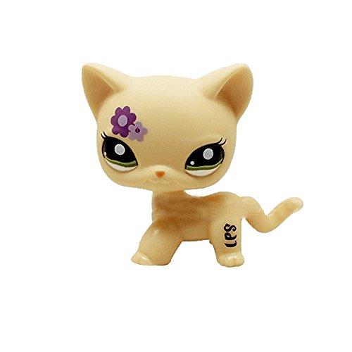 Meetsunshine LPS Figure Toy,Rare Littlest Pet Shop Cream Tan Brown Cat Toy Short Hair Heart Face Cat