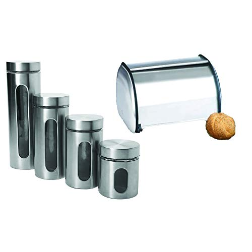 Anchor Hocking Brushed Steel Bread Box bundle with Anchor Hocking Stainless Steel Food Canisters 4-Piece Palladian Window Set