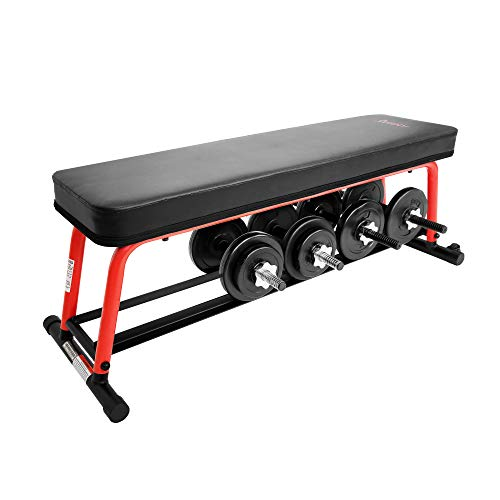 Sunny Health & Fitness Power Zone Strength Flat Bench with 1000 LB Max Weight, Dumbbell Rack and Transport Wheels - SF-BH6996