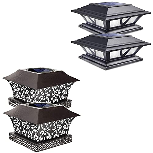 Siedinlar 2 Modes Solar Post Lights Black (2 Pack) and Metal Brown Solar Post Lights (2 Pack)